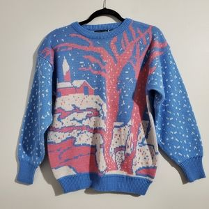 Vintage Blue and Pink Winter Sweater Size M